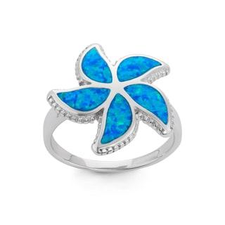 La Preciosa Sterling Silver Blue Opal Starfish Ring