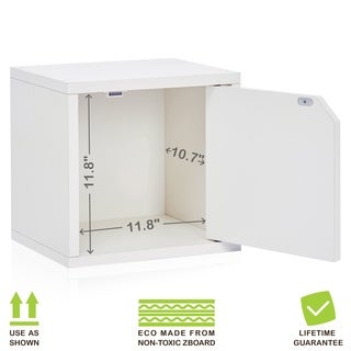 Floyd Eco Stackable Storage Cube Unit with Door, White LIFETIME GUARANTEE