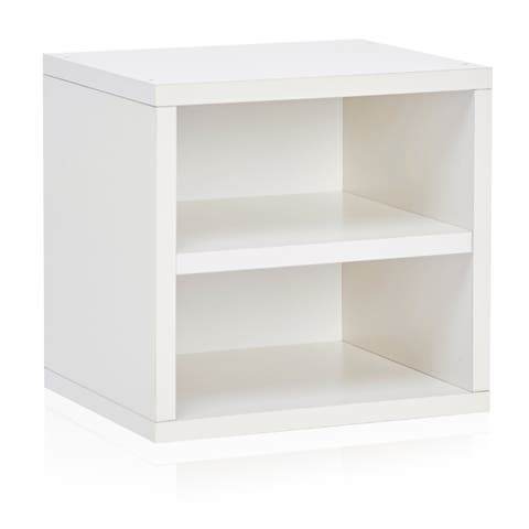 Weston Eco Stackable Storage Cube Unit with Shelf, White LIFETIME GUARANTEE