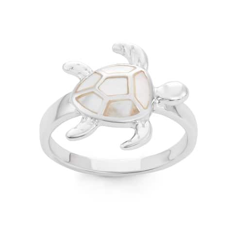 La Preciosa Sterling Silver Mother of Pearl Turtle Ring