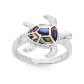 La Preciosa Sterling Silver Abalone Turtle Ring