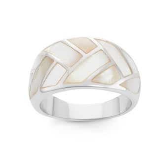 La Preciosa Sterling Silver Mother of Pearl Large Band Ring