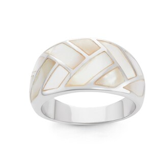 La Preciosa Sterling Silver Mother of Pearl Large Band Ring (3 options available)