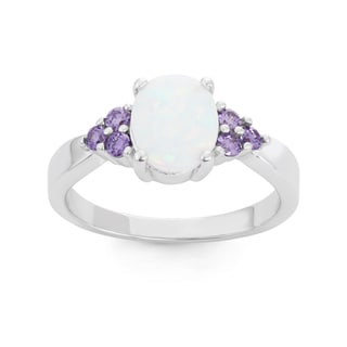 La Preciosa Sterling Silver Oval White Opal & Purple CZ Ring