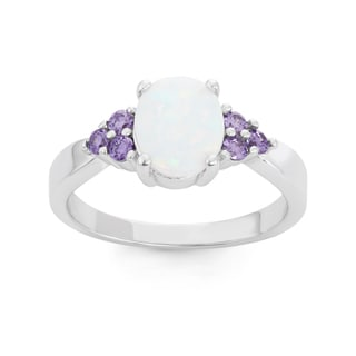 La Preciosa Sterling Silver Oval White Opal & Purple CZ Ring