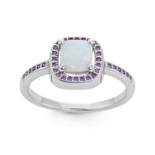 La Preciosa Sterling Silver White Opal & Purple CZ Ring