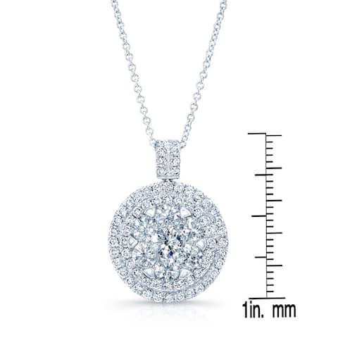 14k White Gold 2 1/4ct TDW Diamond Rolo Chain Pendant