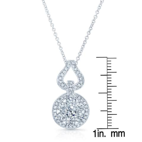 14k White Gold 1ct TDW Diamond 18-inch Rolo Chain Pendant