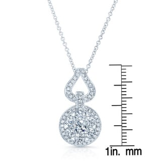 14k White Gold 1ct TDW Diamond 18-inch Rolo Chain Pendant (H-I, SI1-SI2)