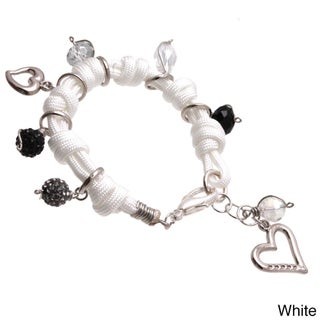 Bleek2Sheek Knotted Cord Multi-colored Rhinestone Crystal Dangle Charm Jewelry Bracelet (More options available)