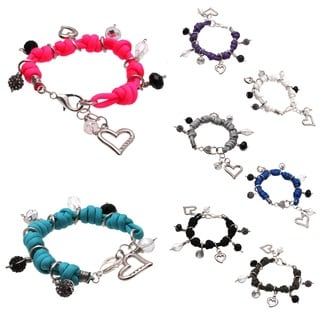 Bleek2Sheek Knotted Cord Multi-colored Rhinestone Crystal Dangle Charm Jewelry Bracelet