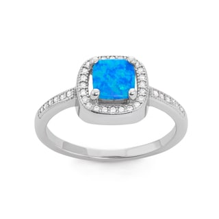 La Preciosa Sterling Silver Blue Opal & CZ Square Ring