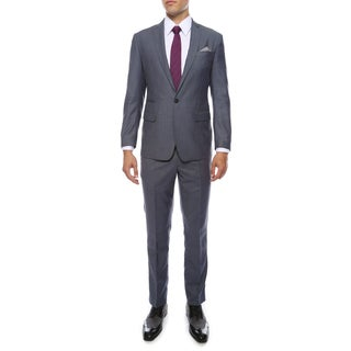 Zonettie Men's Milano Blue Peak Lapel Slim Fit 2-Piece Suit