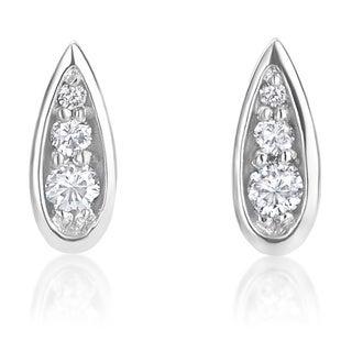 SummerRose 14k White Gold 1/10ct TDW Diamond Earrings (H-I, SI1-SI2)