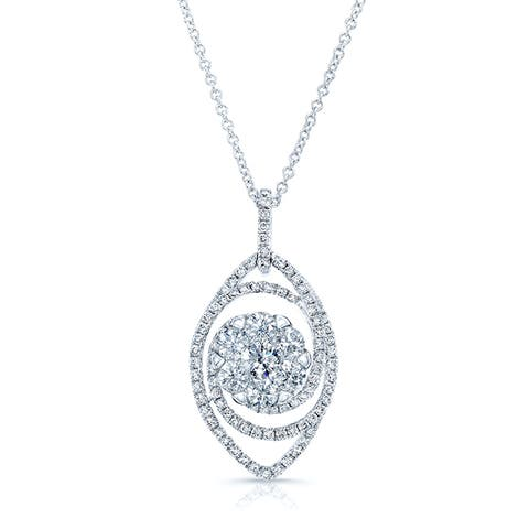 14k White Gold 1 2/5ct TDW Diamond Rolo Chain Pendant Necklace