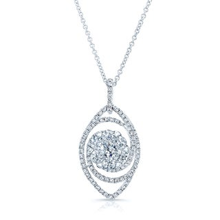 14k White Gold 1 2/5ct TDW Diamond Rolo Chain Pendant Necklace (H-I, SI1-SI2)