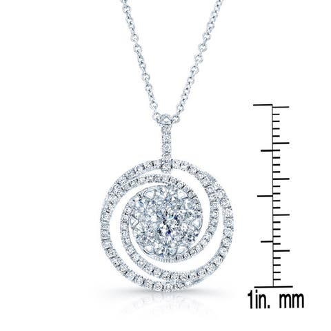 14k White Gold 1 1/3ct TDW Diamond Pendant Necklace