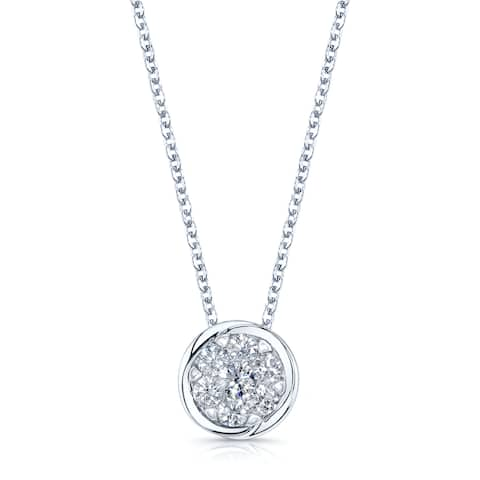 14k White Gold 3/4ct TDW Diamond Pendant Rolo Necklace