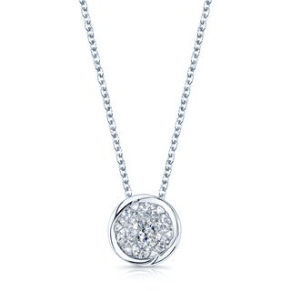 14k White Gold 3/4ct TDW Diamond Pendant Rolo Necklace (H-I, SI1-SI2)