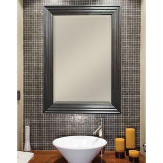 Pewter Ridged Finish Beveled Mirror