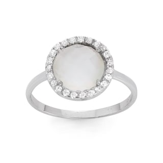La Preciosa Sterling Silver Mother of Pearl & CZ Circle Ring
