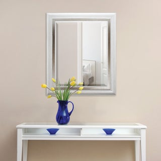 White with Brushed Steel Finish Beveled Mirror