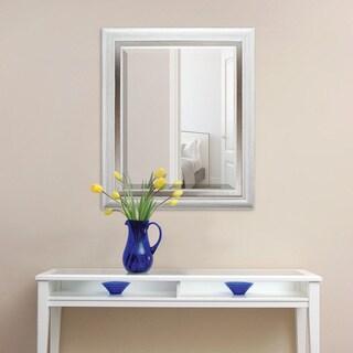 White with Brushed Steel Finish Beveled Mirror