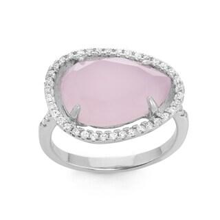 La Preciosa Sterling Silver Created Rose Quartz & White CZ Ring