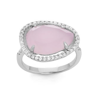 La Preciosa Sterling Silver Created Rose Quartz & White CZ Ring
