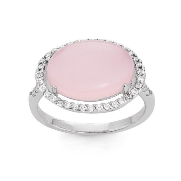 La Preciosa Sterling Silver Created Rose Quartz & White CZ Oval Ring