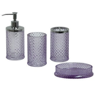 Jessica Simpson Diamond Cut 4-piece Bath Accessories Set - 2 Colors available