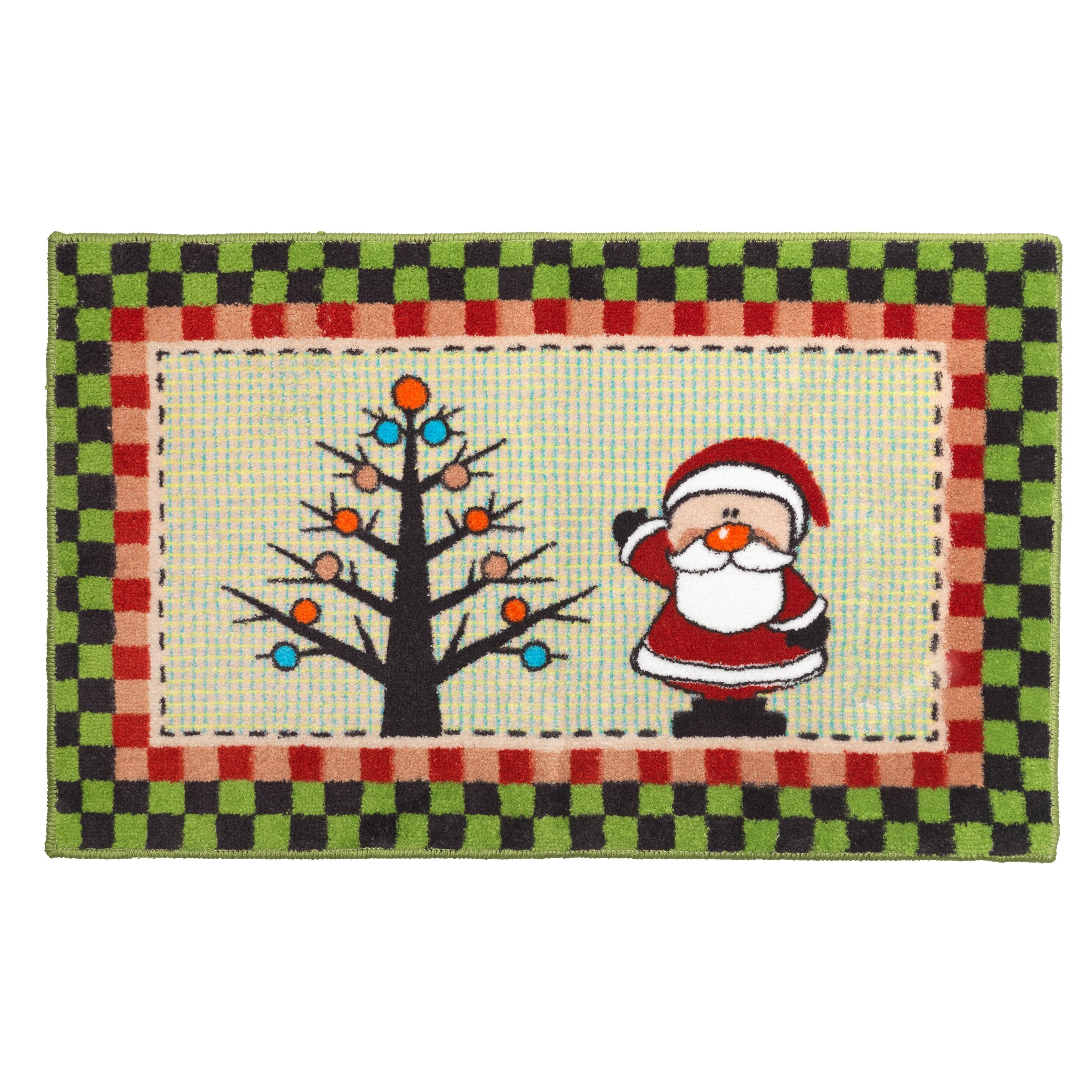 Americana Holiday Christmas Themed Bath Rug 19 X 34