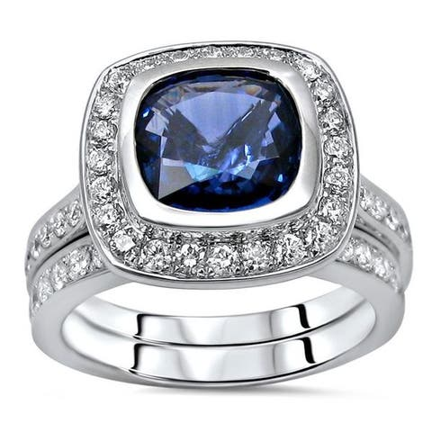 18k White Gold Sapphire and 3/4ct TDW Diamond Engagement Ring Set (F-G, SI1-SI2) - Blue