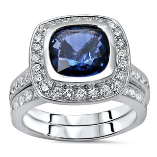 Noori 18k White Gold Sapphire and 3/4ct TDW Diamond Engagement Ring Set (F-G, SI1-SI2)