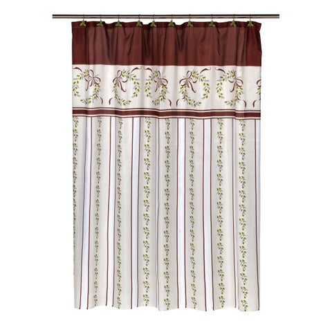 """14-piece """"Victorian Christmas"""" Holiday Themed Shower Curtain Ensemble"""