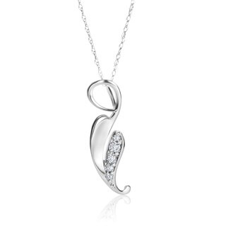 SummerRose 14k White Gold 1/10ct TDW Diamond Leaf Motif Pendant with White gold chain