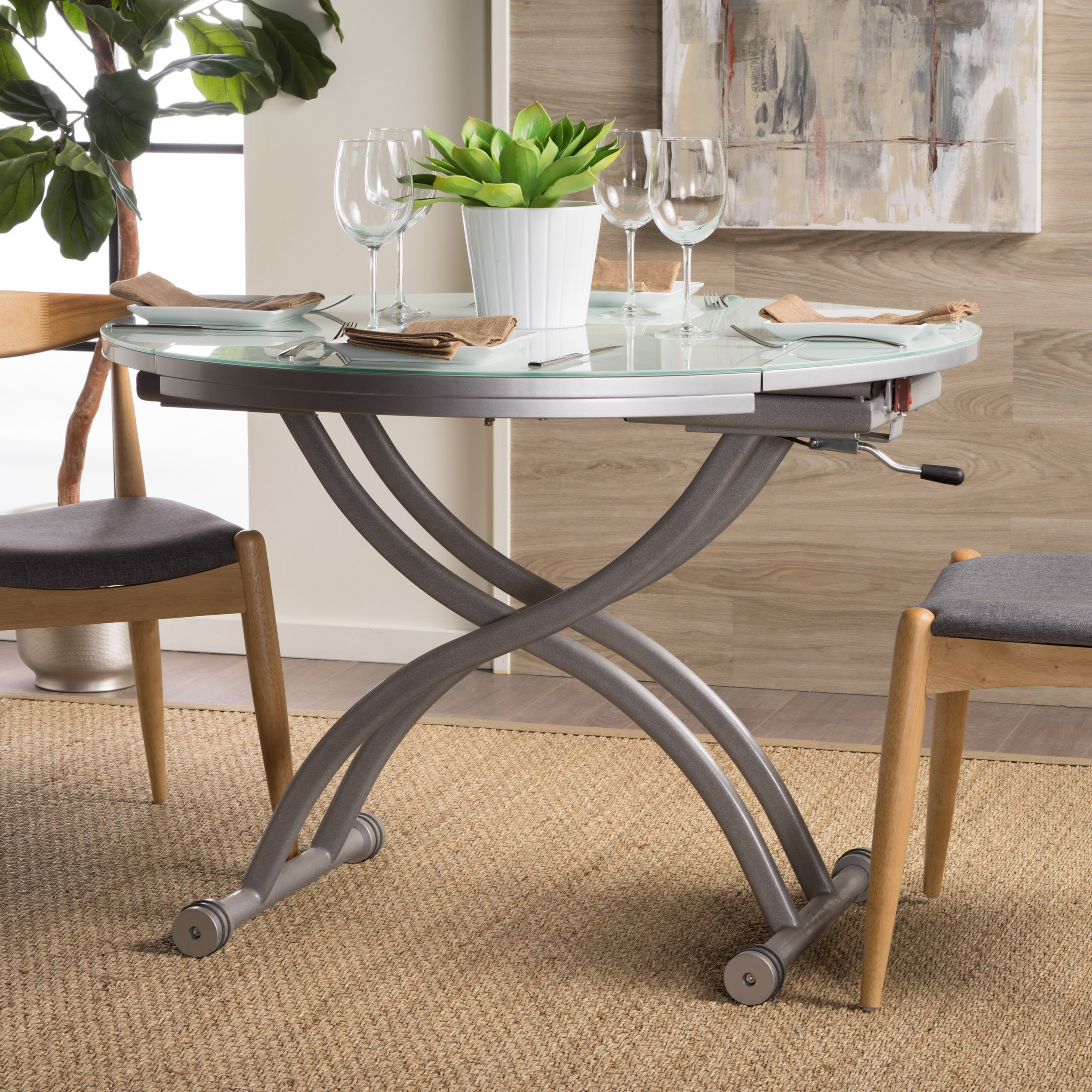 Shelby Glass Top Folding Table With Drop Leaf By