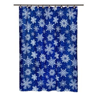 """14-piece Christmas """"Snowflake"""" Holiday Themed Shower Curtain Ensemble"""