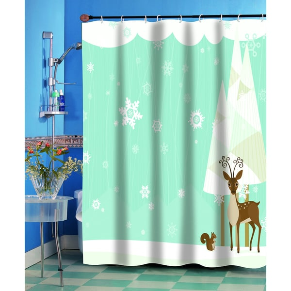 Forest Friends Christmas Holiday Themed Fabric Shower Curtain