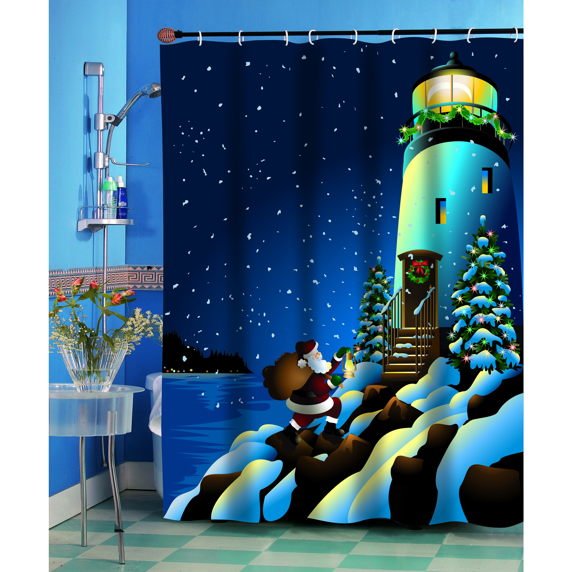 Carnation Home Fashions Holiday Lighthouse Christmas Them...