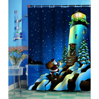 Holiday Lighthouse Christmas Themed Holiday Fabric Shower Curtain