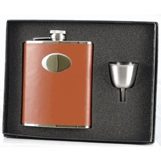 Visol Hound Brown Leather Legacy Flask Gift Set - 6 ounces