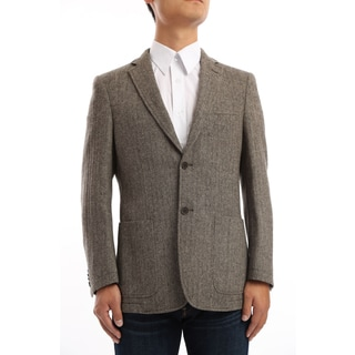 Verno Miano Men's Brown and Tan Herringbone Classic Fit Wool Blazer