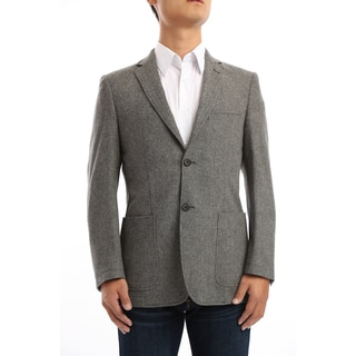 Verno Granillo Men's Charcoal Grey Contrast Stitch Classic Fit Wool Blazer