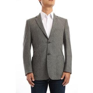 Verno Granillo Men's Charcoal Grey Contrast Stitch Classic Fit Wool Blazer