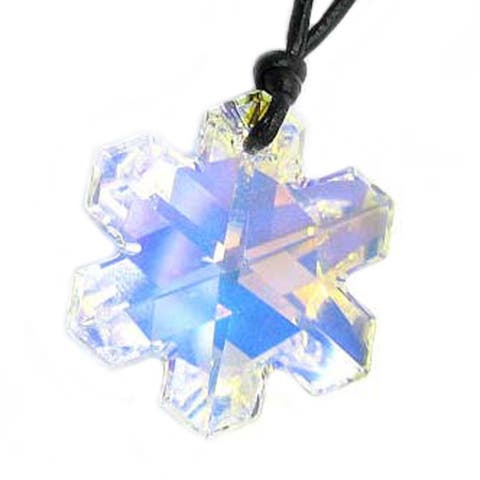 Austrian Crystal Clear AB Snowflake Pendant Leather Choker Necklace