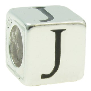 Queenberry Sterling Silver Dice Cube Letter 'J' European Bead Charm