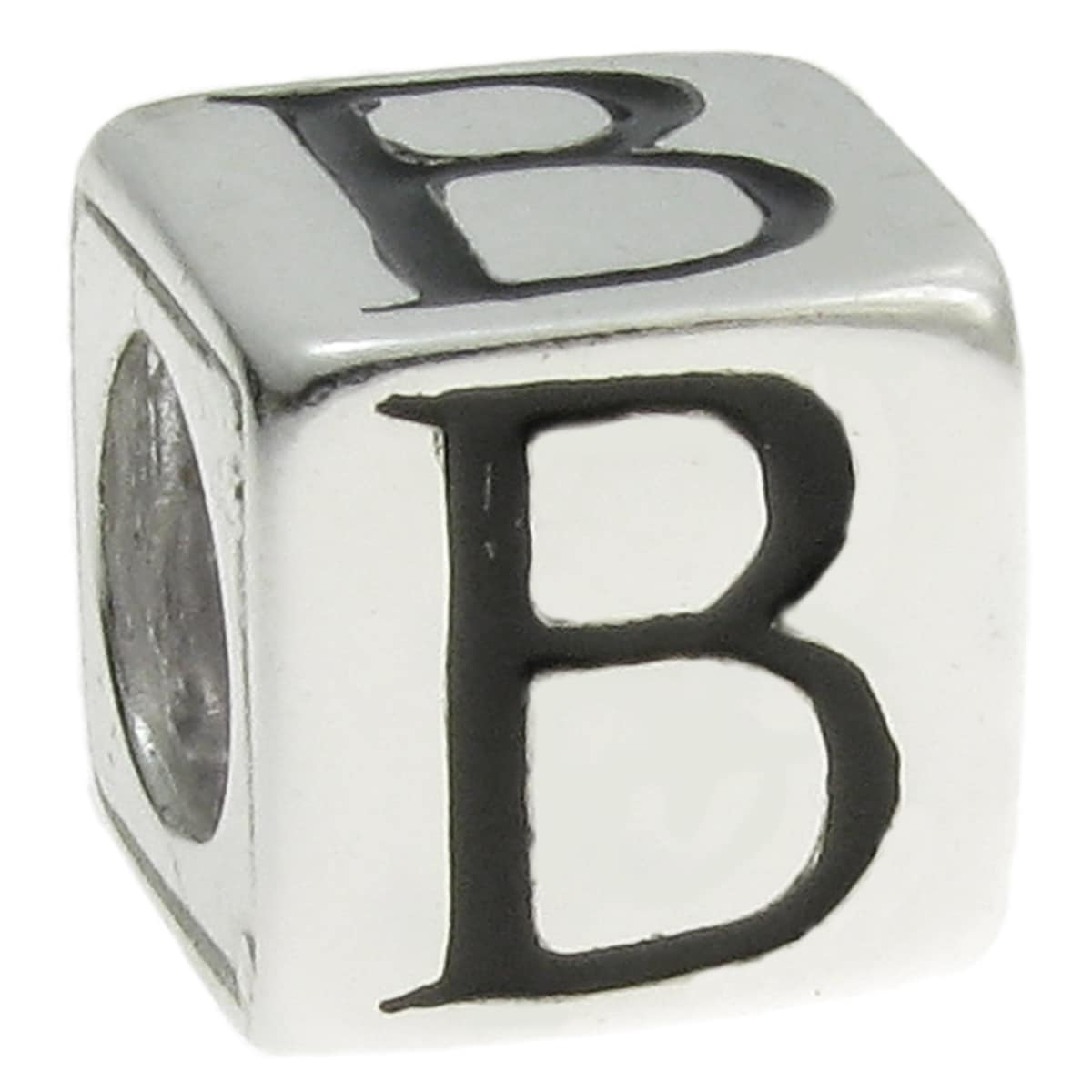 Queenberry Sterling Silver Dice Cube Letter 'B' European ...