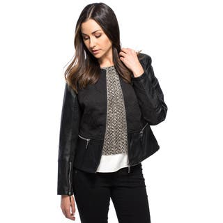 Women's Tonal Banded Jewel Neck Waisted Zip Front Jacket with PU Detail|https://ak1.ostkcdn.com/images/products/10813999/P17858863.jpg?impolicy=medium