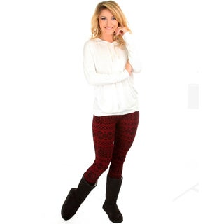 Fleece-Lined Flocked Leggings